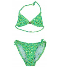 Bikini triángulos verde flores