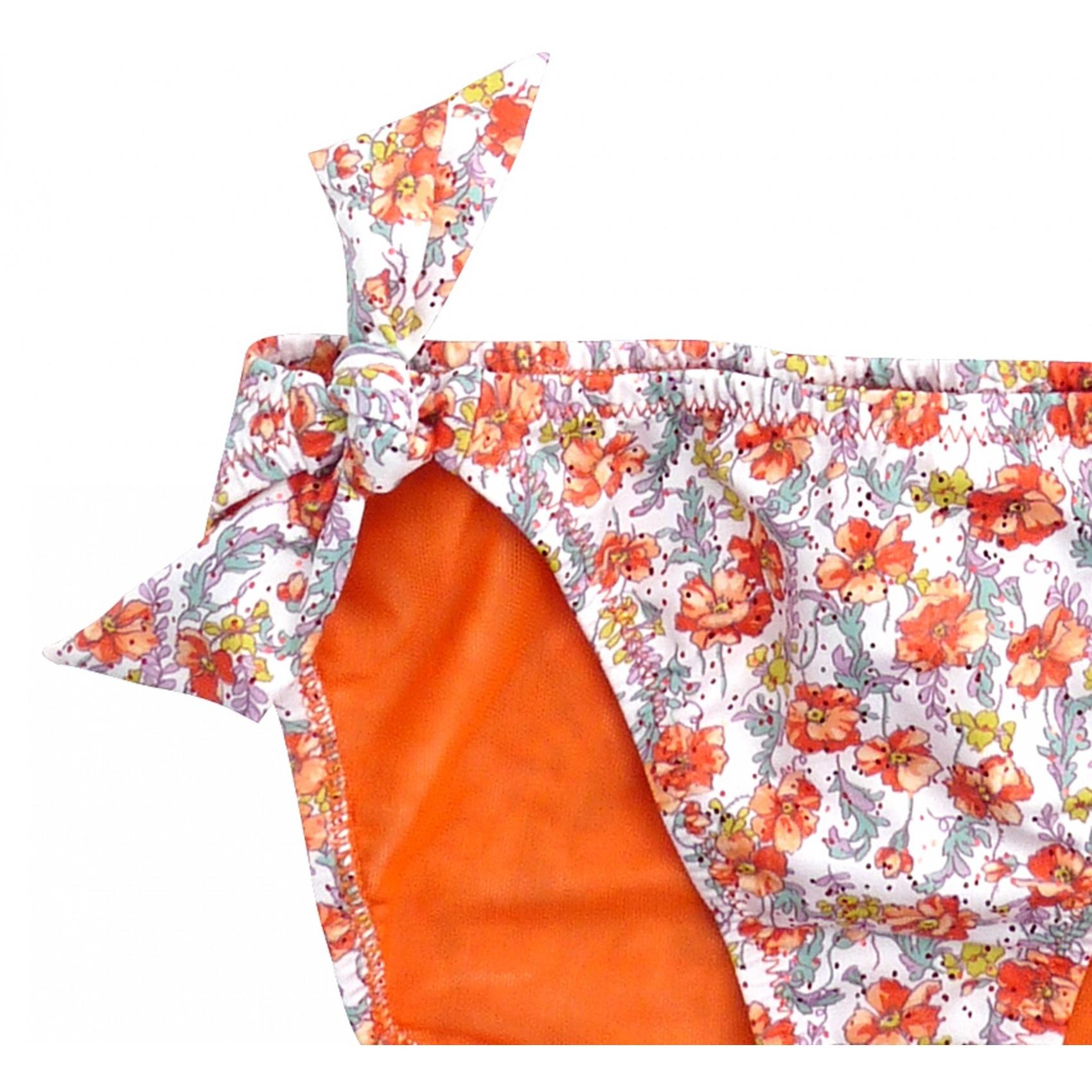 maillot de bain fille 2 pi ces orange fleuri princesse ilou. Black Bedroom Furniture Sets. Home Design Ideas