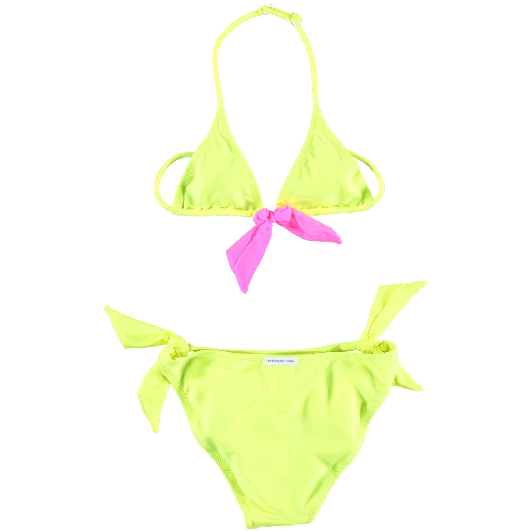 maillot de bain fille 2 pi ces rose et jaune fluo. Black Bedroom Furniture Sets. Home Design Ideas