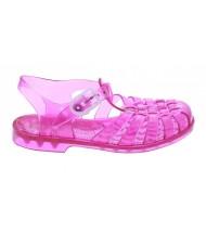 Sandales fille en plastique rose groseille