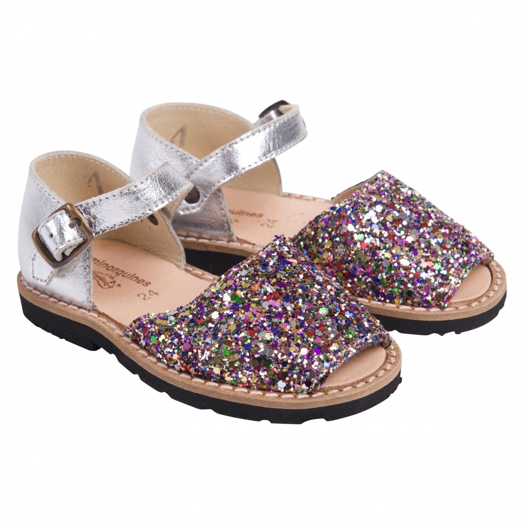 Sandales enfant argent à paillettes multicolores - Multicolore - 26 TO4oCMV9