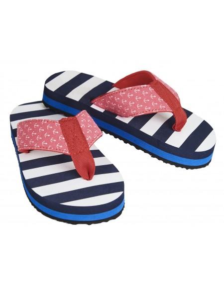 Nautical stripes flip flops