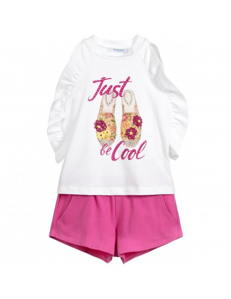 Girl cotton top and shorts set