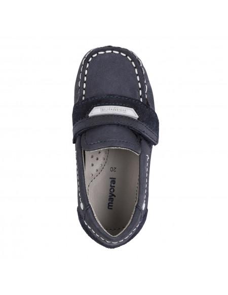 Chaussures bateau bébé garçon peau velcro
