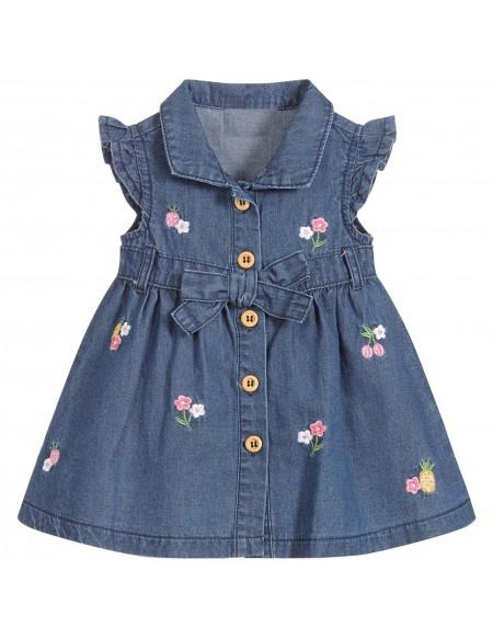 Robe bébé en jean avec fleurs brodées