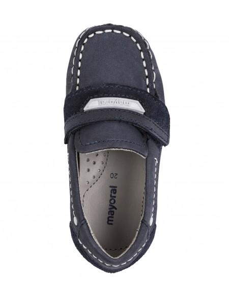 Chaussures bateau garçon peau velcro