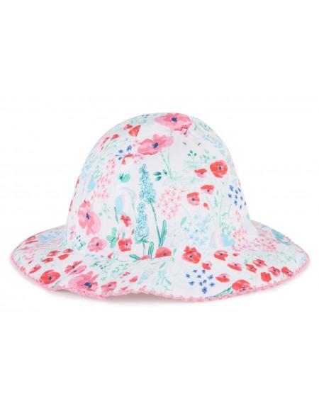 Chapeau bébé en coton fleuri