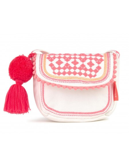 Girls White Emboidered Hippy Bag