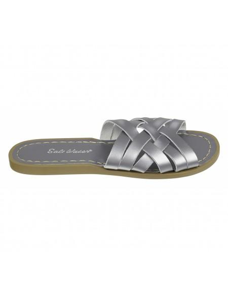 Sandales en cuir tressé uni Retro Slide