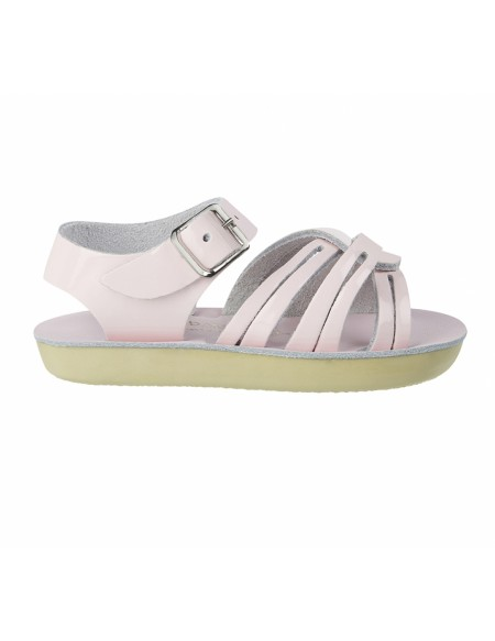 leather sandals shiny pink