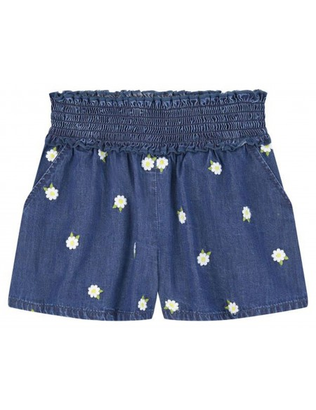 Short en denim brodé