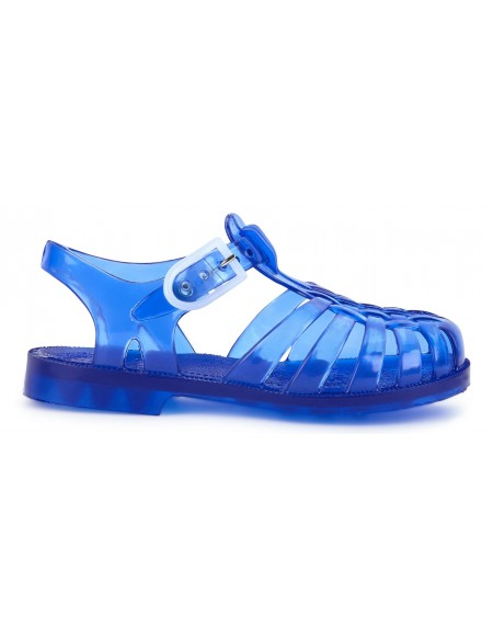 Sandales en plastique bleu translucide