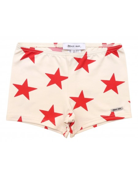 Red star stretch swim short