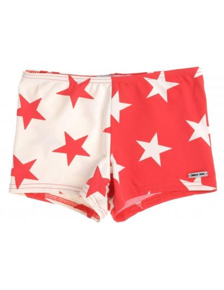 Red star stretch swim short