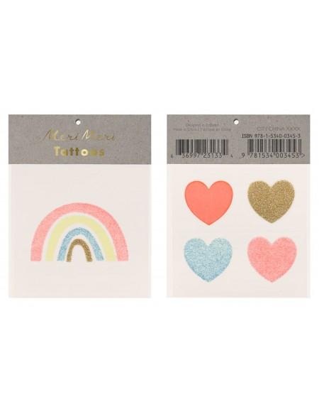 Rainbow and hearts small Tattoos