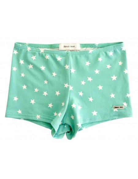 Green star printed stretch swim short