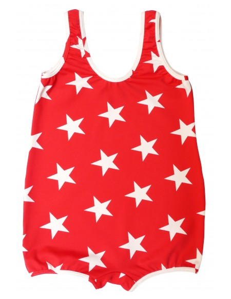 Combishort de bain garçon rouge imprimé étoile