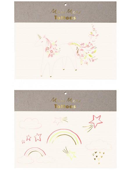 Rainbow floral unicorn tattoos